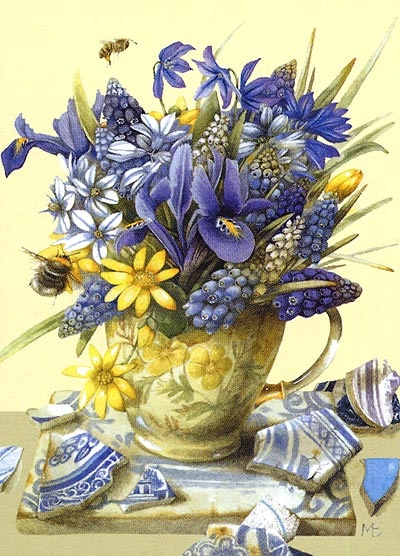 Blue Flowers by Marjolein Bastin (Born 1943 in Loenen aan de Vecht).Considered the most important nature artist in the Netherlands and her heartfelt work has elicited international acclaim