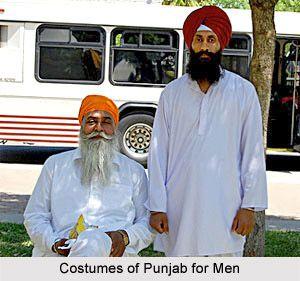 Crisp white kurtas & colorful turbans. Sikh father and son Rangla PUNJAB India