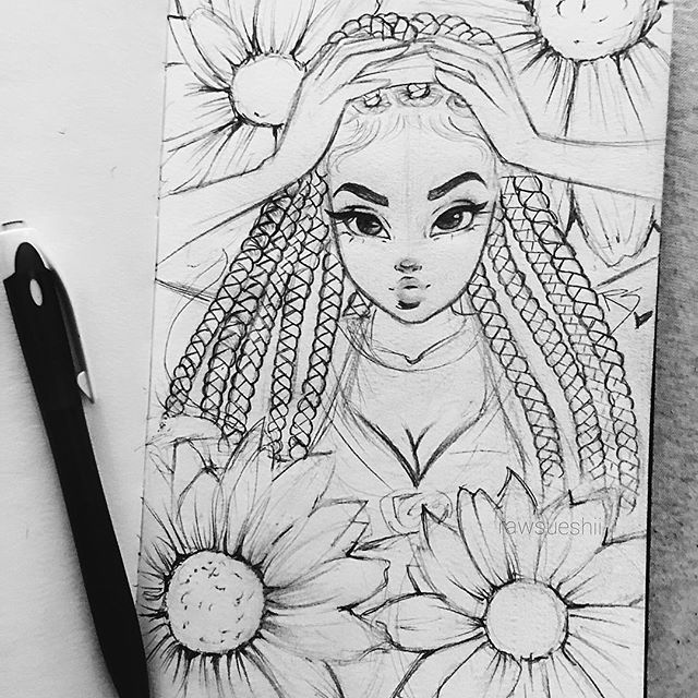 I used my new box braids drawing technique in this sketch