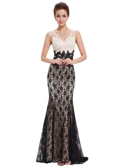 Women's Color Block Lace Crochet Trim Deep V Slim Fit Dress AZBRO.com