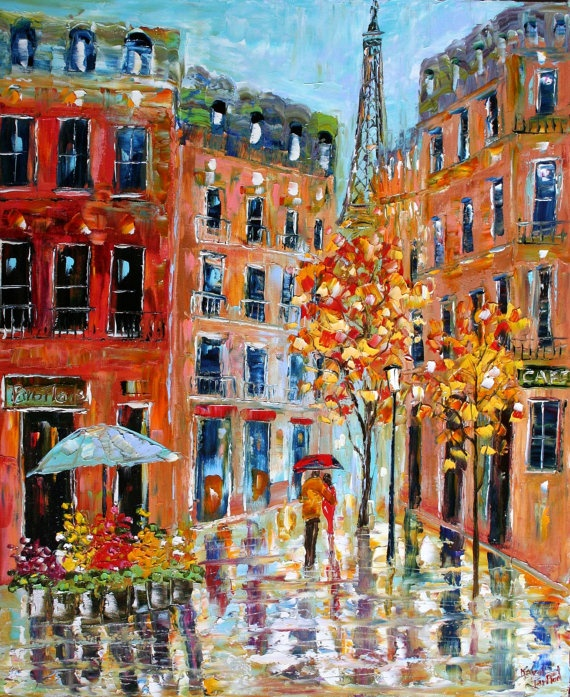 Paris Cityscape Original oil painting Modern by Karensfineart