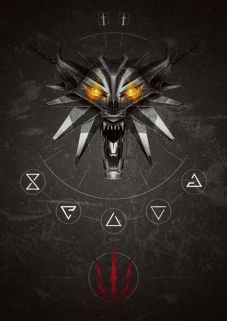 The Witcher 3: Wild Hunt inspired poster with the Wolf School Medallion and primary combat tools. Available for purchase at http://www.redbubble.com/people/lazare/works/21302280-the-white-wolf-arsenal