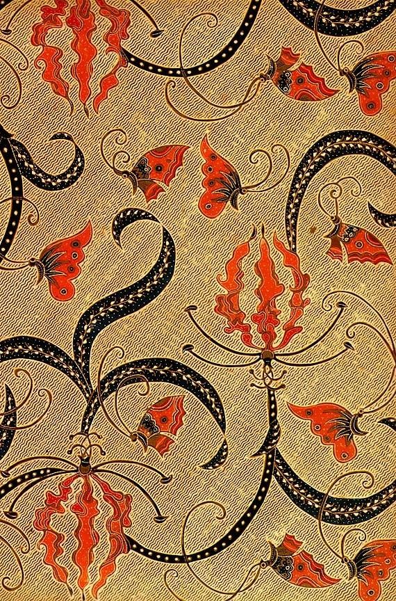 hand drawn batik on cotton, 'kembang sungsang'; jakarta, indonesia