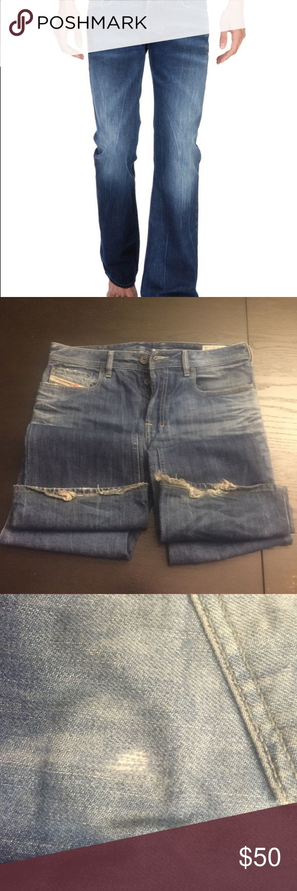 "Diesel ZATHAN Jeans Bootcut Wash 008M2. Cuffs professionally reattached to 28.5"" inseam. Pic 2 shows cuffs. Pics 3&4 show patch (barely noticeable). Diesel Jeans Bootcut"