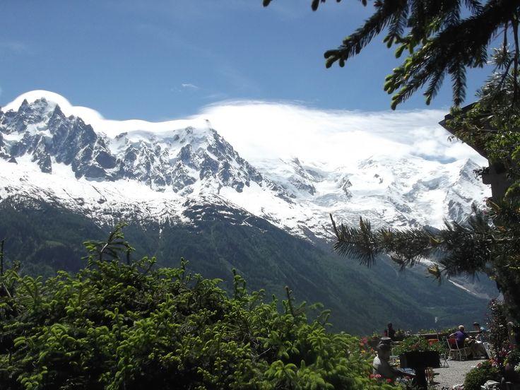 Chalet la Floria (right) and Mont Blanc