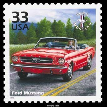 12446 - FORD - MUSTANG 1964 - Conversível vermelho selo - 29x29 cm.-