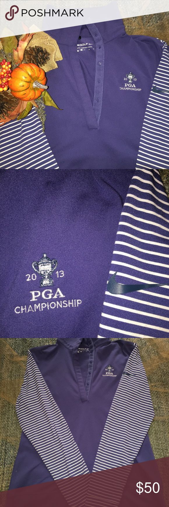 Nike Golf Dri-fit 2013 PGA Championship Size M Limited Edition Ladies Nike Golf long sleeve Dri-fit shirt from the 2013 PGA Championship ⛳️ size M. Made of 88% Polyester and 12% Spandex. The camera has the color coming out as more purple but it is really a classic pale navy. Nike fits snugly. Measurements when laid flat are                  💠 length : 24 inches from shoulder to bottom hem 💠sleeve: 30 inches from neck to sleeve hem                💠width 18 inches between armpit hems. Tops…