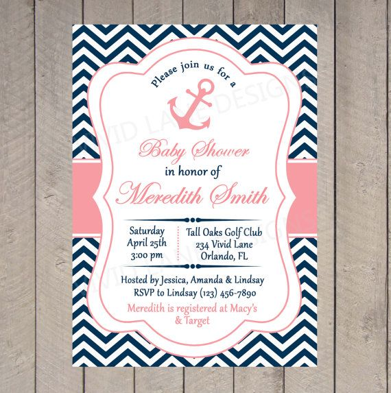 Baby Shower Invitation   Nautical Printable Invitation, Coral And Navy,  Anchor, Baby Girl