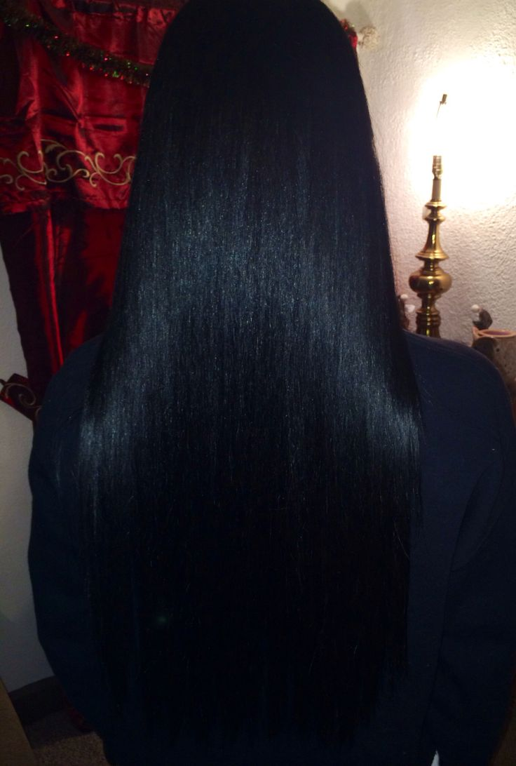 Long real hair jet black/blue tint