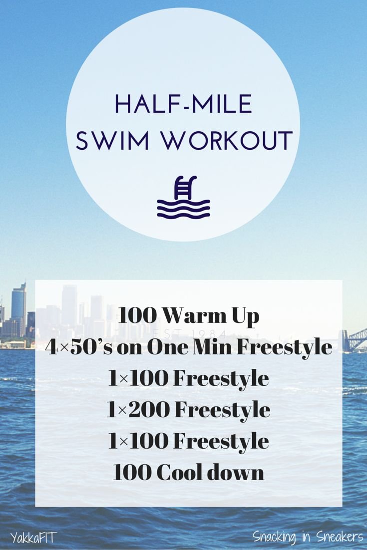 Half Mile Triathlon Swim Workout. A good workout to cover half a mile in the pool. Perfect to help build up strength and distance - can be used with triathlon training.