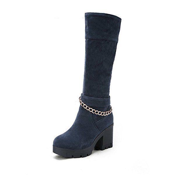 Womens Square Heels Bandage Metal Ornament Khaki Xi Shi Velvet Boots - 7.5 B(M) US