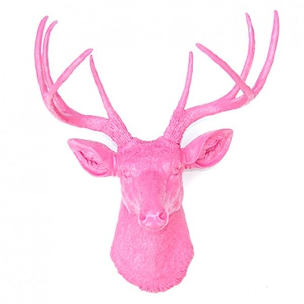 Hot Pink Deer Head Decor - Deer Head Antlers Faux Taxidermy Wall Décor Great for child room, dorm, office, beach house