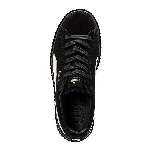 PUMA BY RIHANNA CREEPER (160 CAD) ❤ liked on Polyvore featuring shoes, punk shoes, platform lace up shoes, lace up shoes, long shoes y suede platform shoes