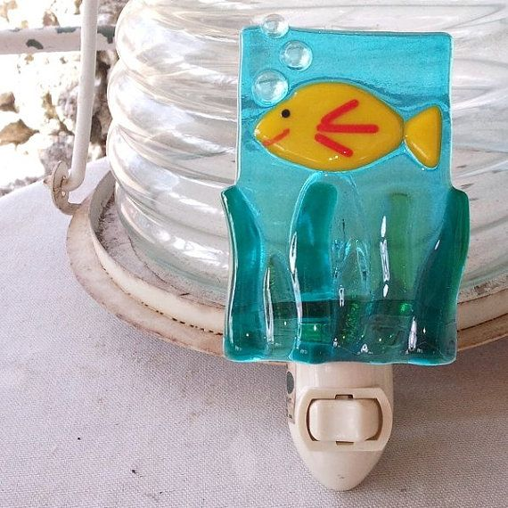 Fused Glass Nightlight  Smiling Yellow Fish by SassyGlassStudio, $20.00