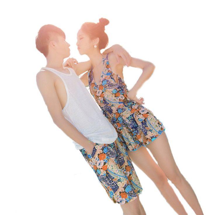 (Wansi) ワンース ペアルック レディース メンズ 水着 サーフパンツ ペア カップル ペア ご夫婦 ビキニ水着 海外旅行ビーチパンツ 新婚旅行 タンキニ水着 4点セット ビキニ+パンツ+ワンピース 女L+男M ブルー