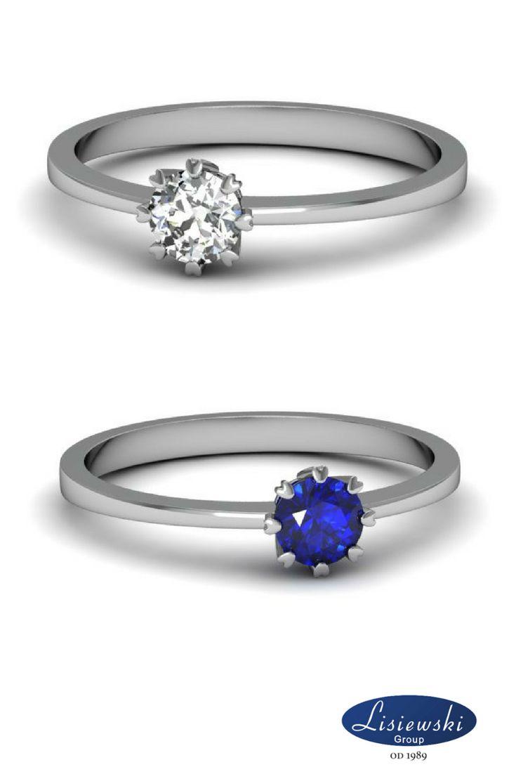 Pierścionki zaręczynowe z kamieniami szlachetnymi, szafir i diament || Engagement rings with diamond and sapphires #goldjewellery