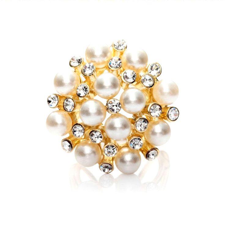 Luxusná spona Kytica periel ponúka zhluky perál, ktoré sa striedajú so žiarivými kamienkami a tvoria dokopy kyticu. Táto spona je vyrobená z pozlátenej zliatiny. Obsahuje trojprstenec aby sa dala prevliecť a naaranžovať na hodvábnu šatku alebo hodvábny šál. Tento fantastický módny doplnok dodá každému oblečeniu šmrnc a rafinovanosť. Vaša hodvábna šatka bude vďaka tomuto prstencu ozdobou Vášho oblečenia. Skvelý a praktický darček pre Vašu milú.