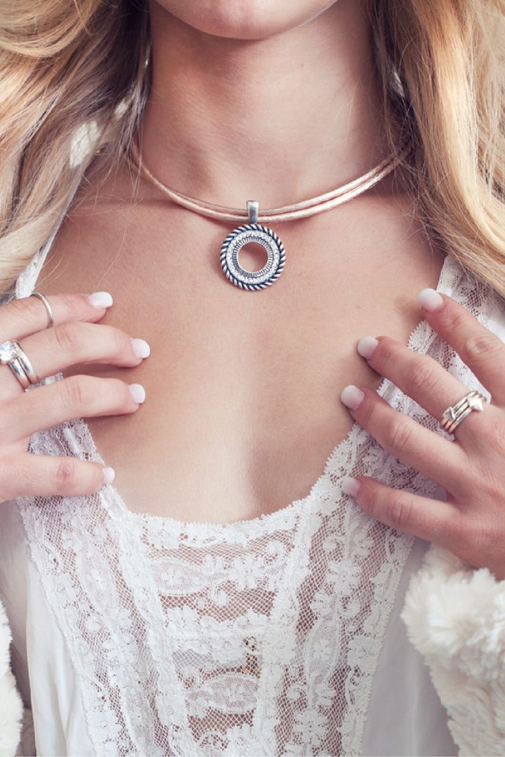 We love weddings and we've got a serious case wedding fever! Whether you're the bride or a guest, why not wear jewellery that is not traditional and slip on a little leather necklace with a sparkling pendant?