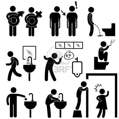 Divertente Public Toilet Concetto icona simbolo Pittogramma Sign photo