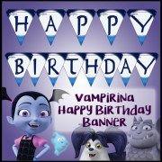 Happy Birthday Banner Free Disney Junior Vampirina Printable Party Kit