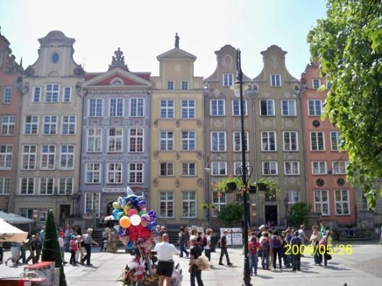 Dluga Street--Much of Gdansk was reduced to rubble during World War II and afterwards, instead of replacing the buildings with modern houses, it was decid...