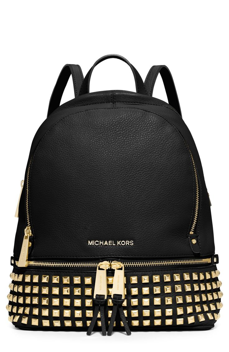 Michael kors bags in dubai - Rows Of Gold Pyramid Studs And Tasseled Zippers Give This Michael Kors Backpack A City Chic