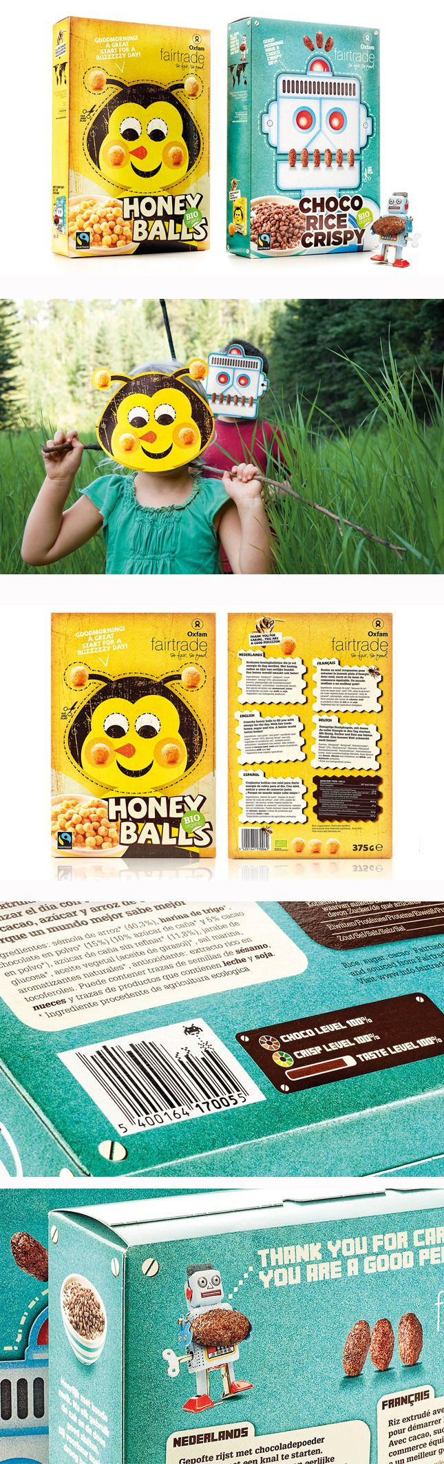 Oxfam Fairtrade. We created a packaging that met both the client's and consumer's needs even beyond their expectation. A clear and strong story with a cheeky homage to the iconic cereal packaging from the fifties. In every detail, special attention was paid to feeding children's imagination and telling Oxfam's story in all its simplicity. Transform yourself into a 'cereal' killer robot or buzz off to school like a sweet honeybee. www.quatremains.be