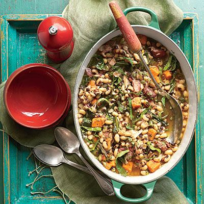 Black-Eyed Pea, Collard, and Sweet Potato Stew | Don't be intimidated by the length of the ingredient list for this thrifty Southern stew. The majority of the ingredients are used to make a fantastic stock that starts with a Southern classic: potlikker. Then we use loads of fresh, aromatic vegetables, herbs, and spices to round out the flavor. Serve the stew ladled over hot cooked rice, and sprinkle with the fresh herbs.