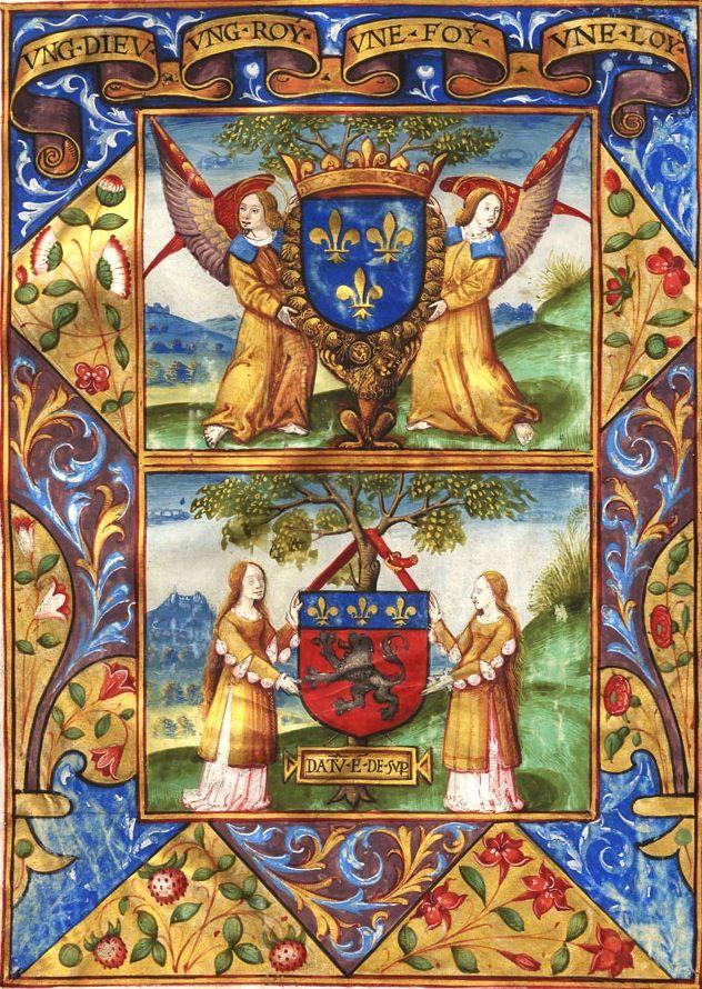 «Ung Dieu, ung Roy, une Foy, une Loy», Armes de France et de la ville de Lyon (DATUM EST DE SUPER) (f°1v) -- Garbeau de l'épicerie, 1519 [Archives municipales de Lyon, CC4292]. -- See more at: http://www.archives-lyon.fr/archives/sections/fr/histoire_de_lyon/les_arts__technique/manuscrits