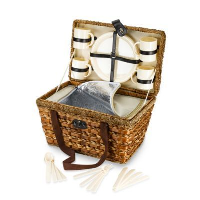 Bamboo 21-Piece Insulated Picnic Basket - BedBathandBeyond.com.. Definitely getting this for our 1 year anniversary picnic :)