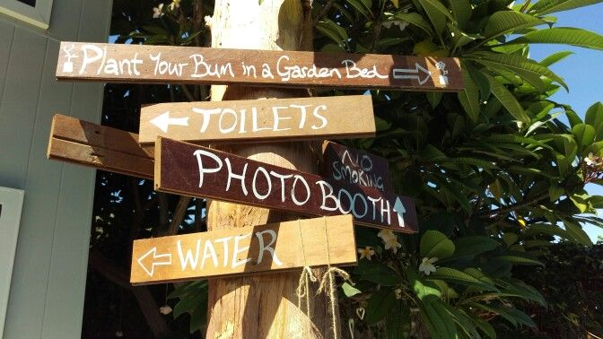 Backyard wedding signs