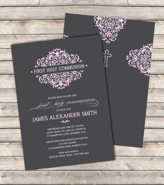 Damask Petals Communion Invitations - An elegant invitation for First Holy Communion & Christening