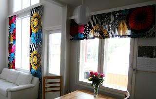 Marimekko Siirtolapuutarha curtains in a Finnish home. #marimekko #home #finland
