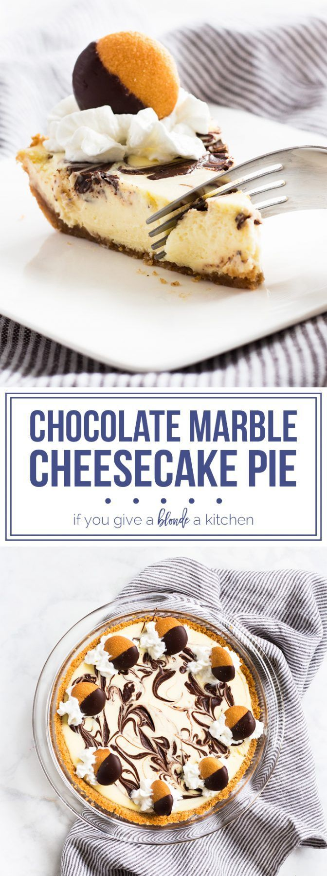 Chocolate marble cheesecake pie with nilla wafer crust. | http://www.ifyougiveablondeakitchen.com
