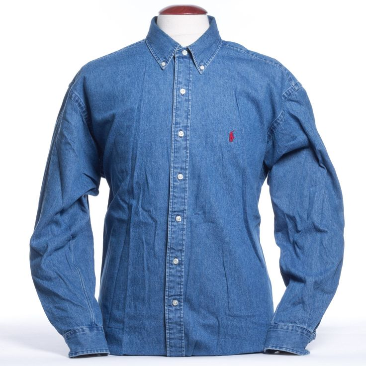 POLO RALPH LAUREN Denim Shirt Mens XL Button Down Blue Cotton w/ Red Logo