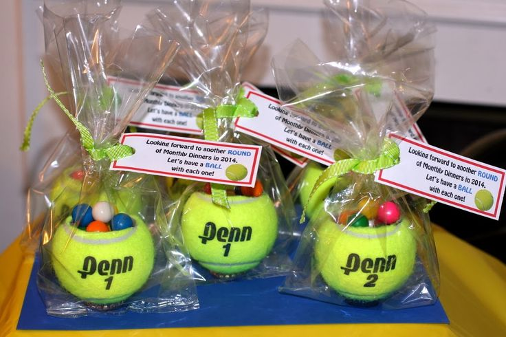 Tennis ball party favor with gumballs - made for my BALL themed party