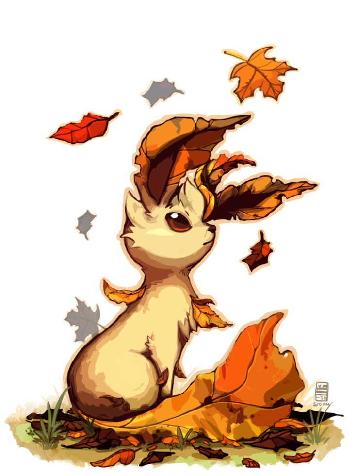 Leafeon by Stormful on deviantART this so cute perfect for this time of the year.