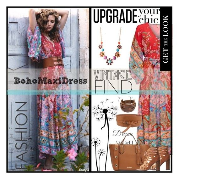 """Boho Maxi Dress"" by polyvore-suzyq ❤ liked on Polyvore featuring WALL, West Coast Jewelry, MICHAEL Michael Kors, Delicious and Pavcus Designs"