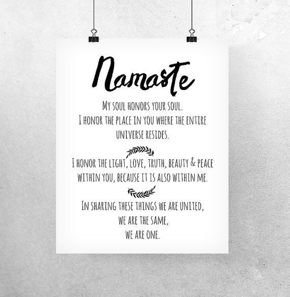 Printable Wall Art 'Namaste meaning' Namaste Print Yoga Quote Wall Decor Inspirational Art Yoga Print Om Print My Soul Honors Your Soul Art