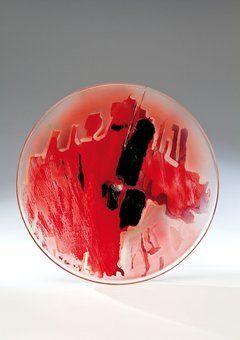 Painted glass disk painted by abstract decoration, D: 43,5 cm, 1987