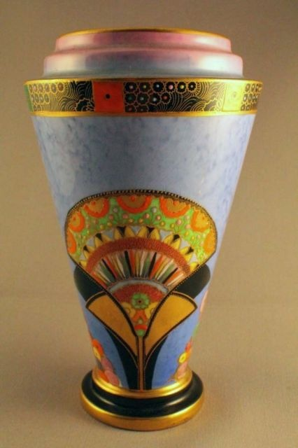 ULTRA RARE CARLTON WARE EGYPTIAN FAN ART DECO VASE | eBay