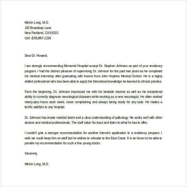 letter of recommendation therapist sample