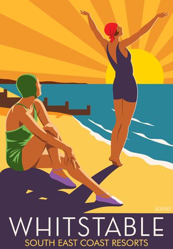 Whitstable Girls. A bit of Art Deco here Drawn by Laurence Whiteley. Modern Design Railway Poster www.whiteonesugar...