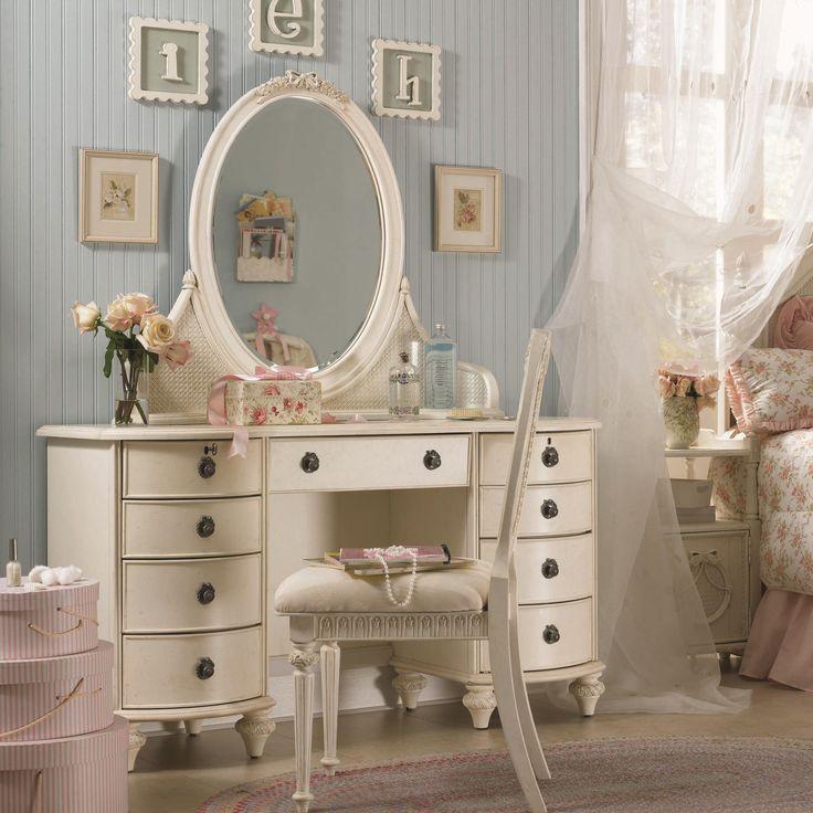 Emmas Treasures Nine Drawer Desk U0026 Oval Mirror Vanity Combination By Lea  Industries   Wolf