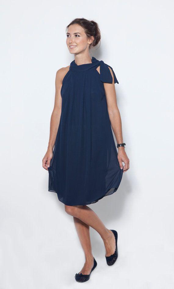 Chiffon dress Bow dress Navy blue dress LeMuse bow by LeMuse