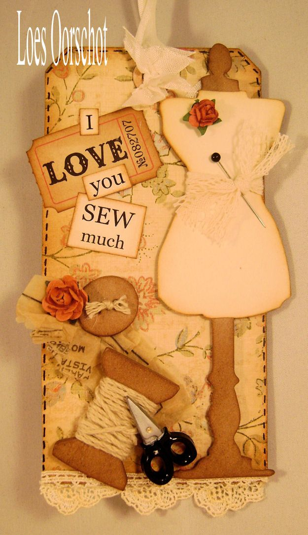 sewing card; 'Sew' eye-catchingly adorable