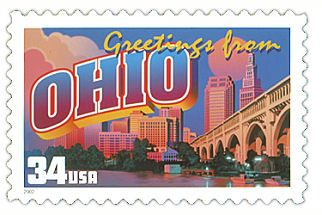 The Ohio State Postage Stamp  Depicted above is the Ohio state 34 cent stamp from the Greetings From America commemorative stamp series. The United States Postal Service released this stamp on April 4, 2002. The retro design of this stamp resembles the large letter postcards that were popular with tourists in the 1930's and 1940's.