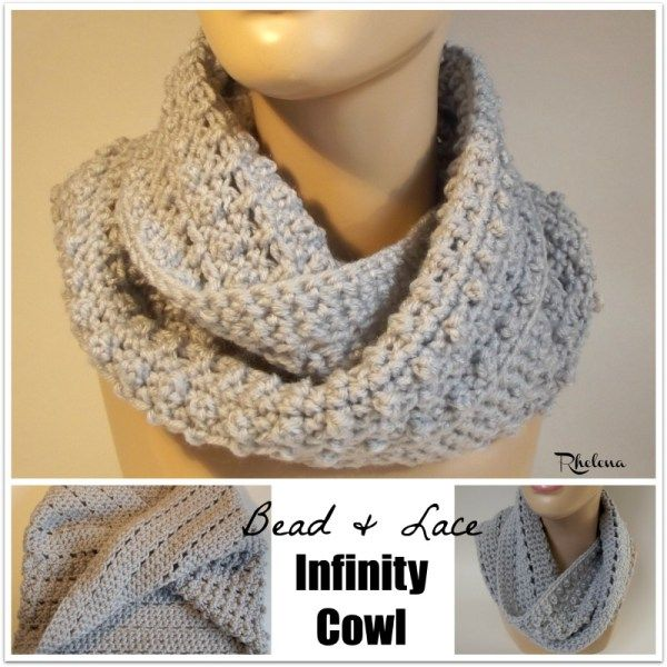 Bead and Lace Infinity Cowl ~ FREE Crochet Pattern   Crochet ...