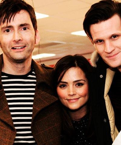 David Tennant, Jenna-Louise Coleman, and Matt Smith.  I REALLY want to be her! Middle section of a Doctor sandwich.