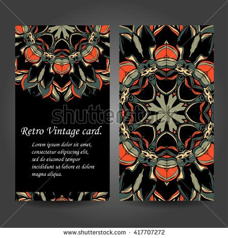 Set retro business card. Vector background. Card or invitation. Vintage decorative elements. Hand drawn. Islam, Arabic, Indian, ottoman motifs. EPS - stock vector